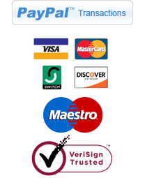We accept Paypal Transations, Visa, Mastercard, American Express, Discover and we are VeriSign Trusted.